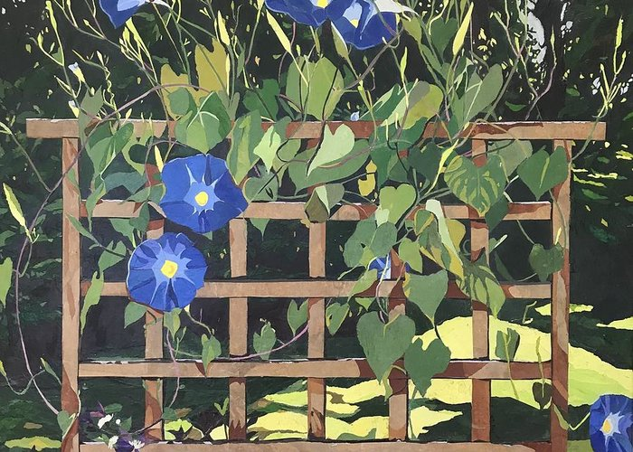 Floral Greeting Card featuring the mixed media Oh Morning Glories by Leah Tomaino
