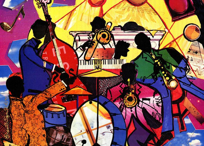 Everett Spruill Greeting Card featuring the painting Old School Jazz by Everett Spruill