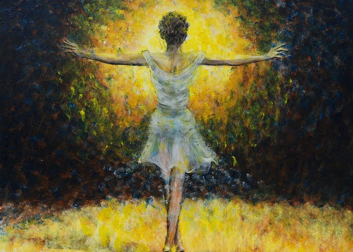 Dancer Greeting Card featuring the painting Once In A Lifetime by Nik Helbig