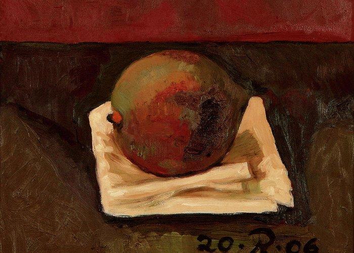 Still-life Red Green Mango Drapery Fruit Greeting Card featuring the painting One Fruit by Raimonda Jatkeviciute-Kasparaviciene