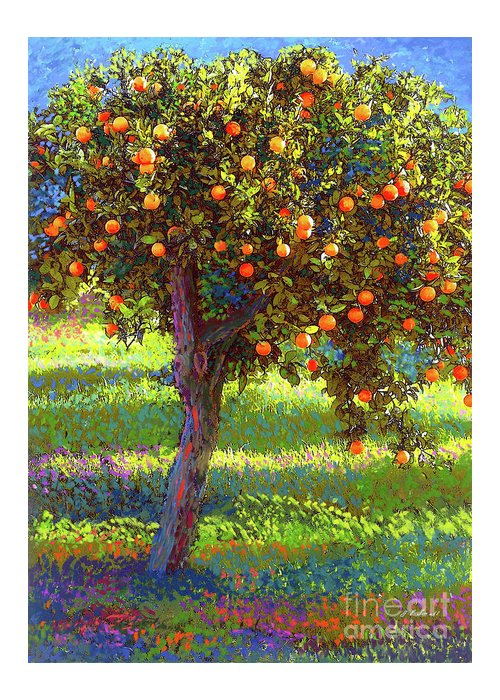 Landscape Greeting Card featuring the painting Orange Fruit Tree by Jane Small