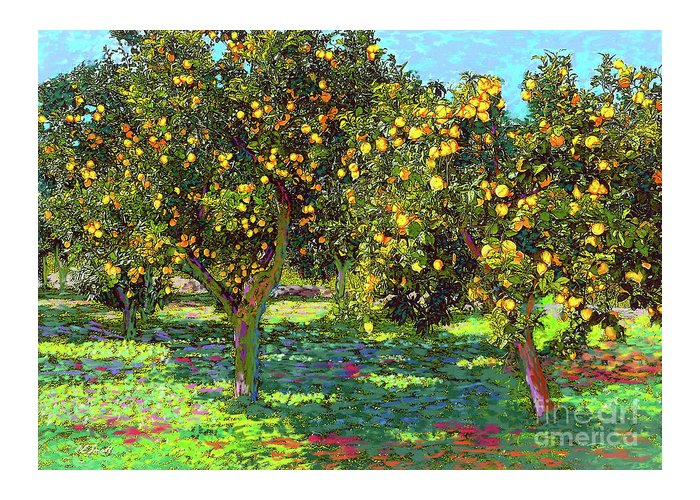 Landscape Greeting Card featuring the painting Orchard of Lemon Trees by Jane Small