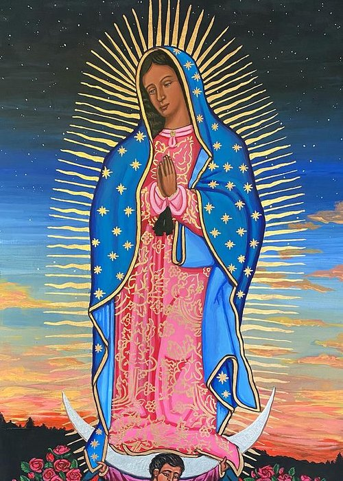 Greeting Card featuring the painting Our Lady of Guadalupe by Kelly Latimore