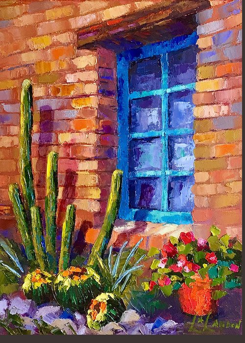 Southwest Art Greeting Card featuring the painting Outside My Window by Linda Star Landon