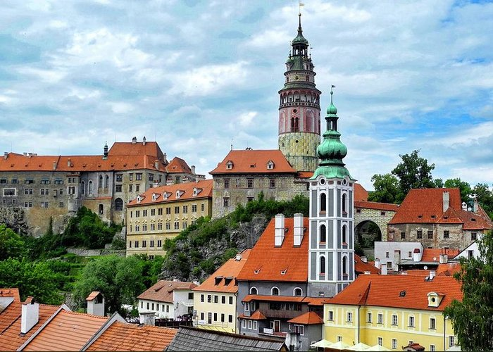 Cesky Krumlov Greeting Card featuring the photograph Overview of Cesky Krumlov by Kirsten Giving
