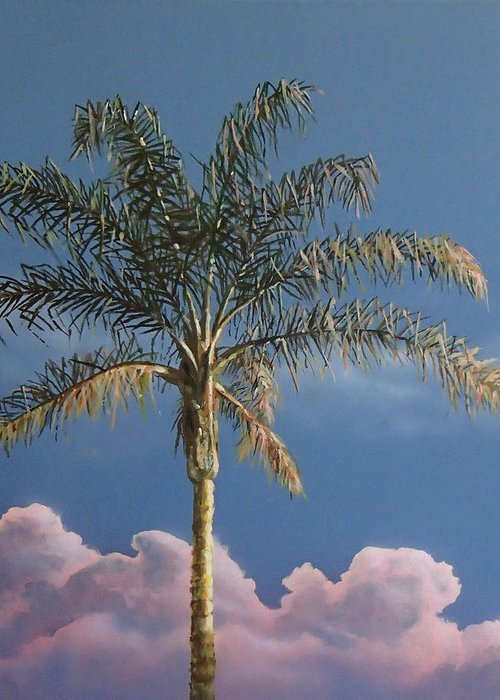 Palm Tree Greeting Card featuring the painting PalmTree at Sunrise by Philip Fleischer