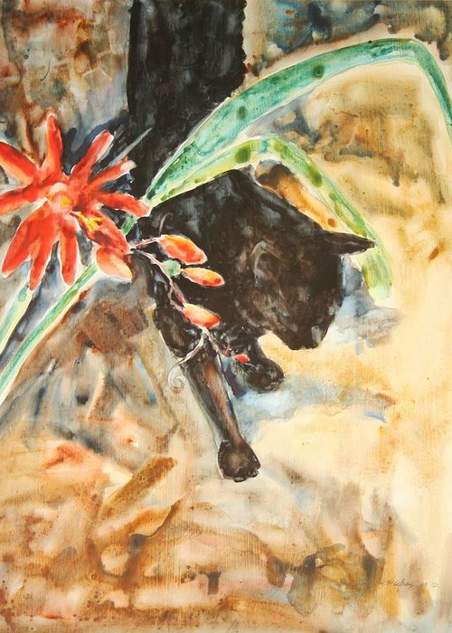 Cat Flower Greeting Card featuring the painting Panther With Passion Flower by Helen Hickey
