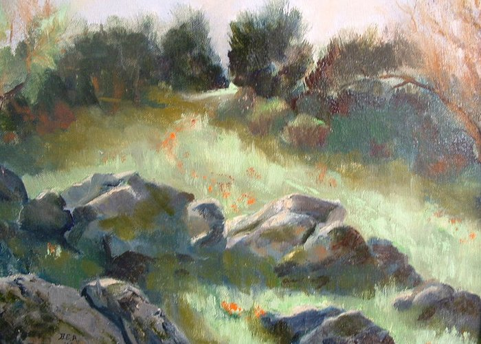 Landscape Greeting Card featuring the painting Paradise on the road to Rancho Guejito by Bryan Alexander