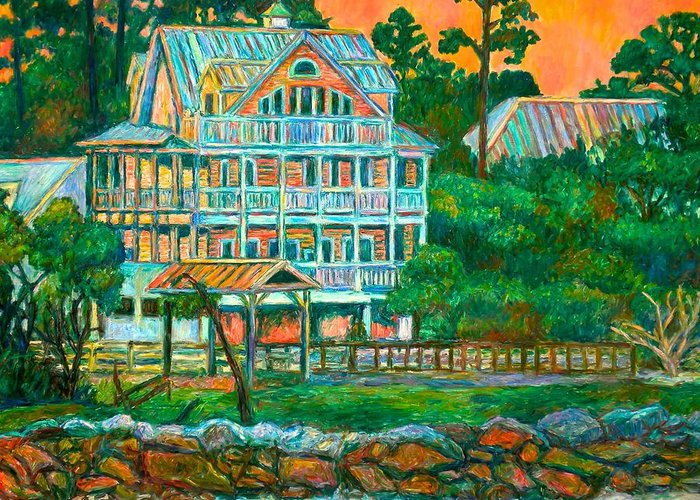 Landscape Greeting Card featuring the painting Pawleys Island Evening by Kendall Kessler