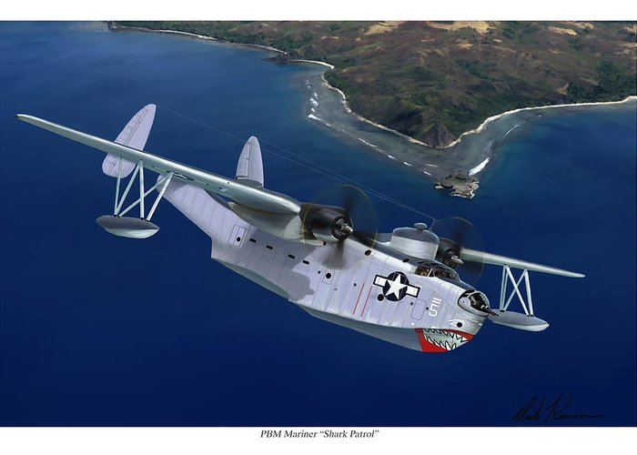Aviation Art Greeting Card featuring the painting PBM Mariner by Mark Karvon