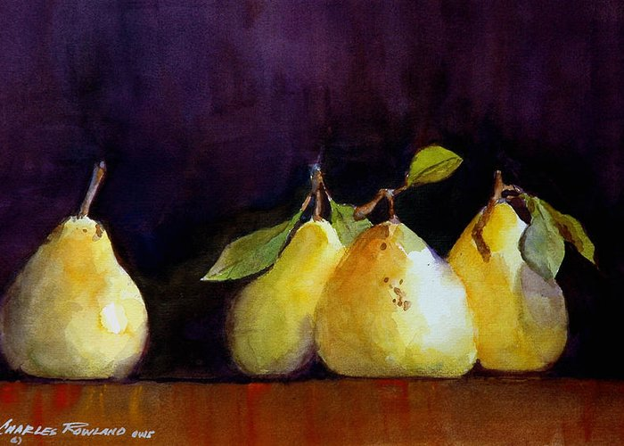 Still Life Greeting Card featuring the painting Pears by Charles Rowland