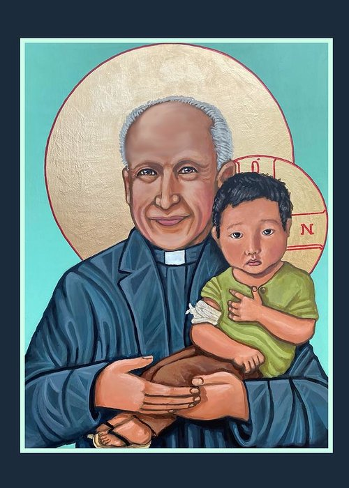 Iconography Jesuit Jesuits Greeting Card featuring the painting Pedro Arrupe SJ by Kelly Latimore