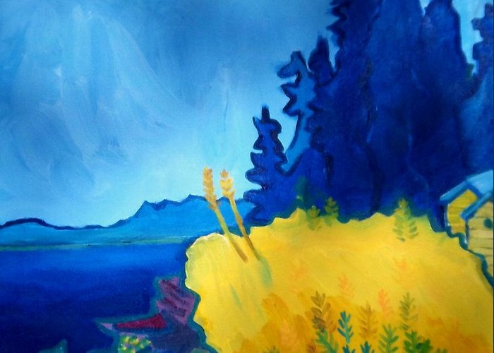 Seascape Greeting Card featuring the painting Pemaquid Point by Debra Bretton Robinson