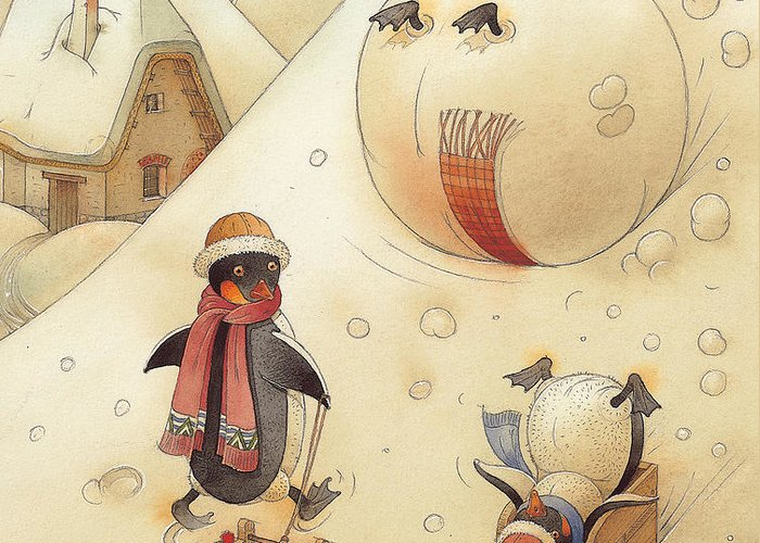Penguins Christmas Winter Snow Sledding White Holiday Greeting Card featuring the painting Penguins by Kestutis Kasparavicius