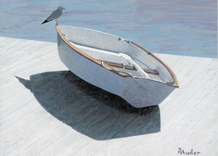 Seagull Greeting Card featuring the drawing Perch by Brent Ander