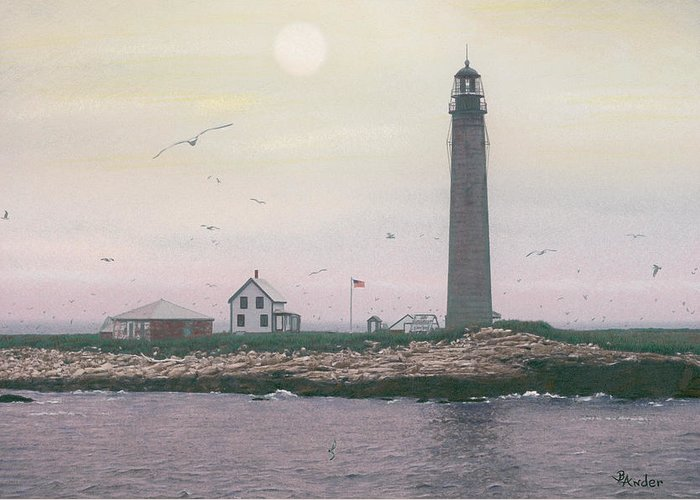 Lighthouse Greeting Card featuring the drawing Petit Manan Lighthouse by Brent Ander
