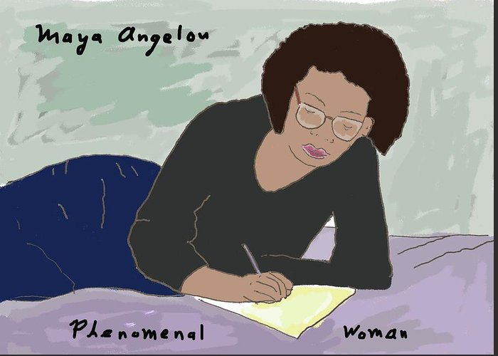 Maya Angelou Greeting Card featuring the drawing Phenomenal Woman by Ashley Rice