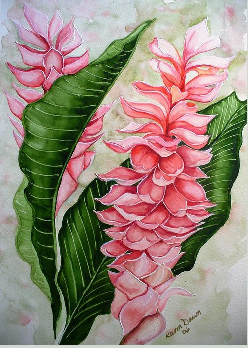 Flower Painting Floral Painting Botanical Painting Ginger Lily Painting Original Watercolor Painting Caribbean Painting Tropical Painting Greeting Card featuring the painting Pink Ginger Lilies by Karin Dawn Kelshall- Best