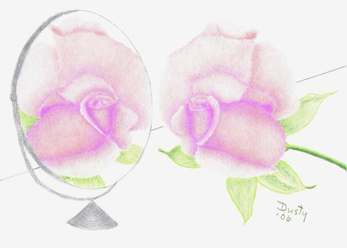 Rose Greeting Card featuring the drawing Pink Reflection by Dusty Reed