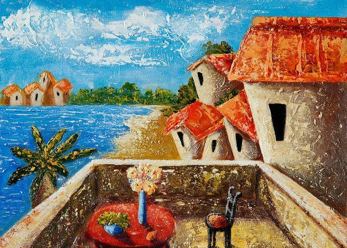 Landscape Greeting Card featuring the painting Playa Gorda by Oscar Ortiz