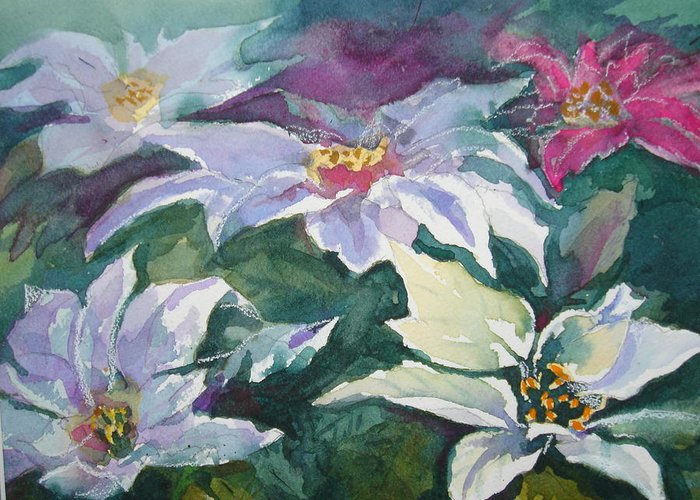 Poinsettias Greeting Card featuring the painting Poinsettias by Judy Fischer Walton