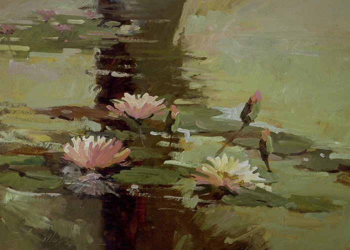 Water Lily Paintings Greeting Card featuring the painting Pond Blossoms by Betty Jean Billups