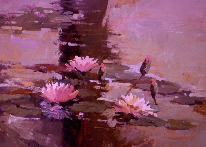 Water Lily Paintings Greeting Card featuring the painting Pond Blossoms - water lilies by Betty Jean Billups