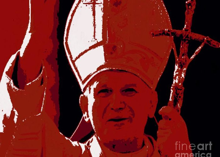 Pope Greeting Card featuring the painting Pope John Paul II Blessing by Jack Bunds