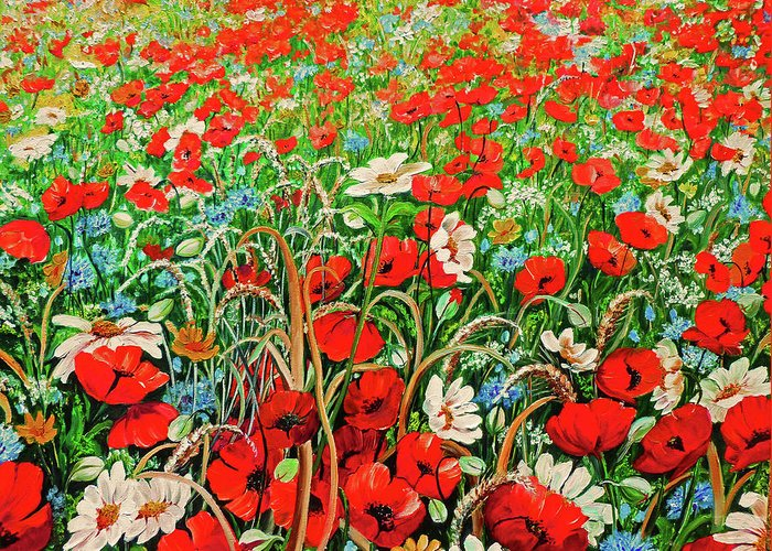 Floral Painting Flower Painting Red Poppies Painting Daisy Painting Field Poppies Painting Field Poppies Floral Flowers Wild Botanical Painting Red Painting Greeting Card Painting Greeting Card featuring the painting Poppies In The Wild by Karin Dawn Kelshall- Best