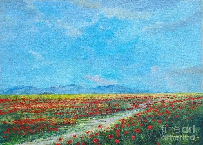 Poppy Field Greeting Card featuring the painting Poppy Field by Sinisa Saratlic