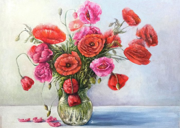 Poppy Greeting Card featuring the painting Poppy flowers by Natalja Picugina