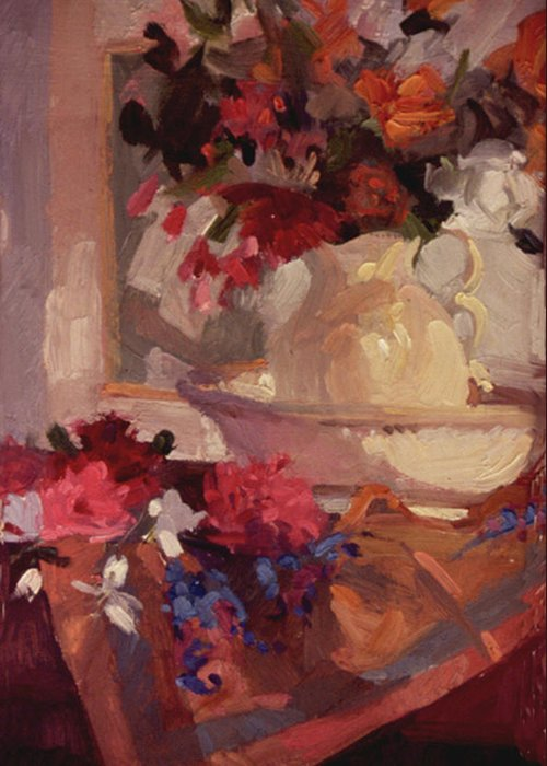 Still Life Greeting Card featuring the painting Porcelain and Peonies by Betty Jean Billups