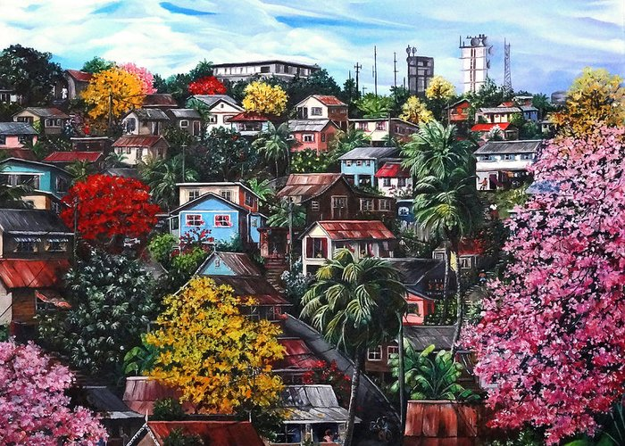 Landscape Painting Cityscape Painting Caribbean Painting Houses Hill Life Color Trees Poui Blossoms Trinidad And Tobago Floral Tropical Caribbean Greeting Card featuring the painting Poui Calling For The Rains by Karin Dawn Kelshall- Best