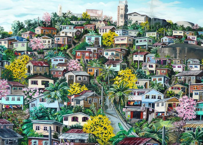 Landscape Painting Cityscape Painting Original Oil Painting  Blossoming Poui Tree Painting Lavantille Hill Trinidad And Tobago Painting Caribbean Painting Tropical Painting Greeting Card featuring the painting Poui On The Hill by Karin Dawn Kelshall- Best