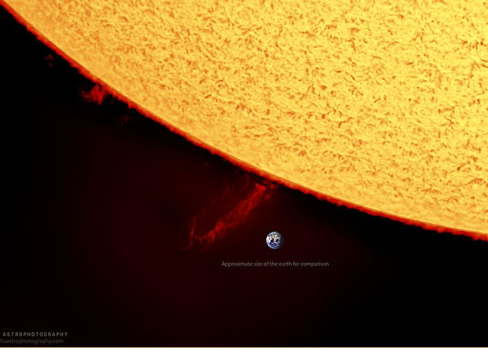 Solarprominence Greeting Card featuring the photograph Prominence by Prabhu Astrophotography