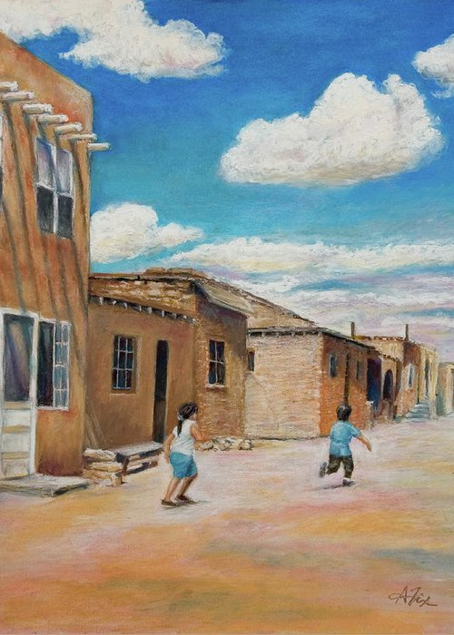 Pueblo Greeting Card featuring the painting Pueblo Playground by Arthur Fix