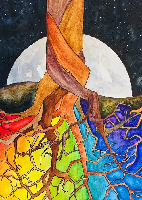 Rainbow Greeting Card featuring the painting Rainbow Soil with Moon by Vonda Drees