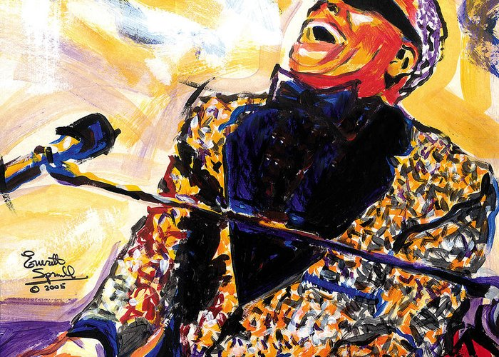 Everett Spruill Greeting Card featuring the painting Ray Charles by Everett Spruill