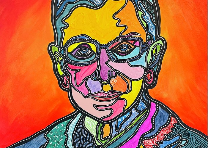 Rbg Greeting Card featuring the painting Rbg 2 by Marconi Calindas