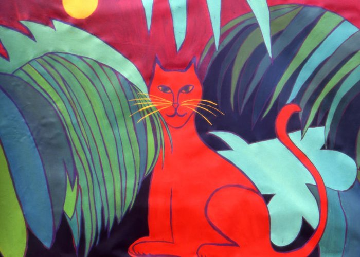 Cat Greeting Card featuring the painting Red Cat by Ingrid Torjesen