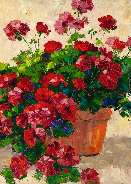 Flowers Greeting Card featuring the painting Red Geraniums by Linda Star Landon