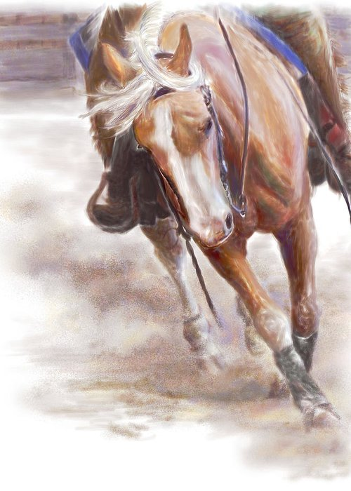 Horse Greeting Card featuring the painting Reiner's Grace- Western Reining Horse by Connie Moses