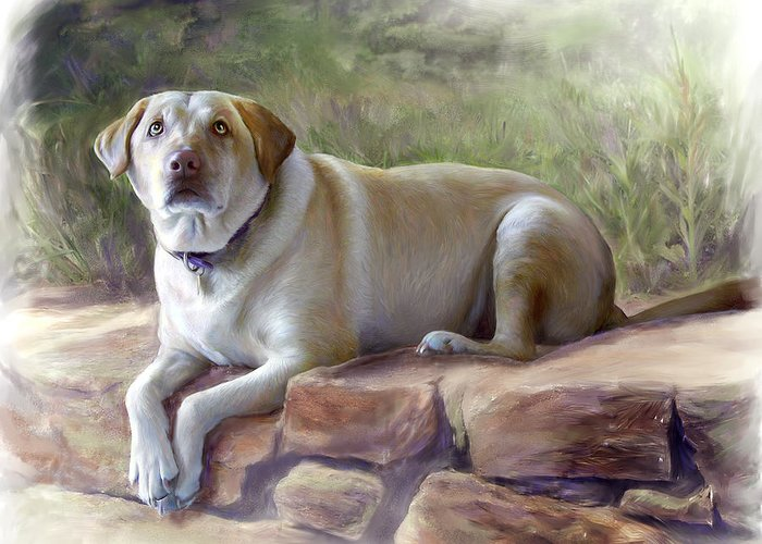Dog Greeting Card featuring the painting Restrained Energy- Yellow Labrador Retriever Portrait by Connie Moses