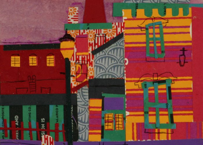 Lowell Greeting Card featuring the mixed media Revolving Museum by Debra Bretton Robinson