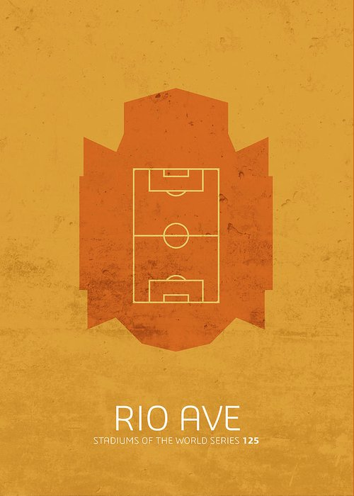 Rio Greeting Card featuring the mixed media Rio Ave Stadium Football Soccer Minimalist Series by Design Turnpike