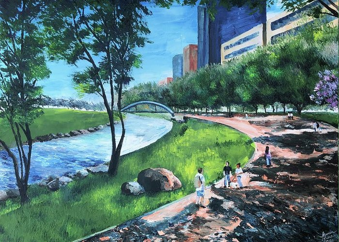 River Greeting Card featuring the painting Riverwalk by Lauren Luna
