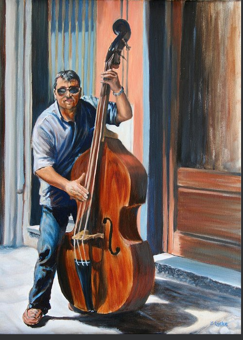 Cello Greeting Card featuring the painting Riviera Rhythms- Cello Street Musician by Jennifer Lycke