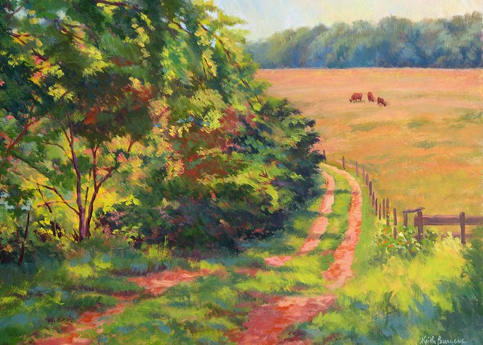 Impressionism Greeting Card featuring the painting Road Beside The Pasture by Keith Burgess