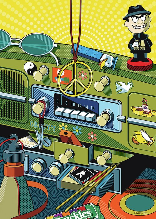 Sixties Greeting Card featuring the digital art Road Trip '69 by Ron Magnes