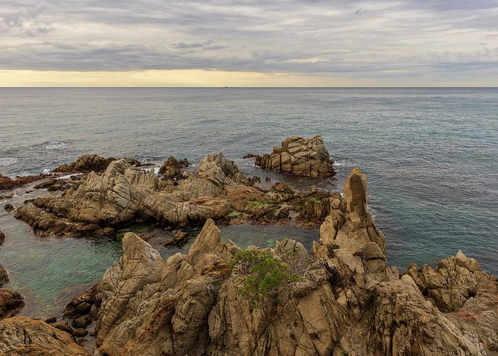Lloret Greeting Card featuring the photograph Rocks In The Sea Of Lloret De Mar by Vicen Photography